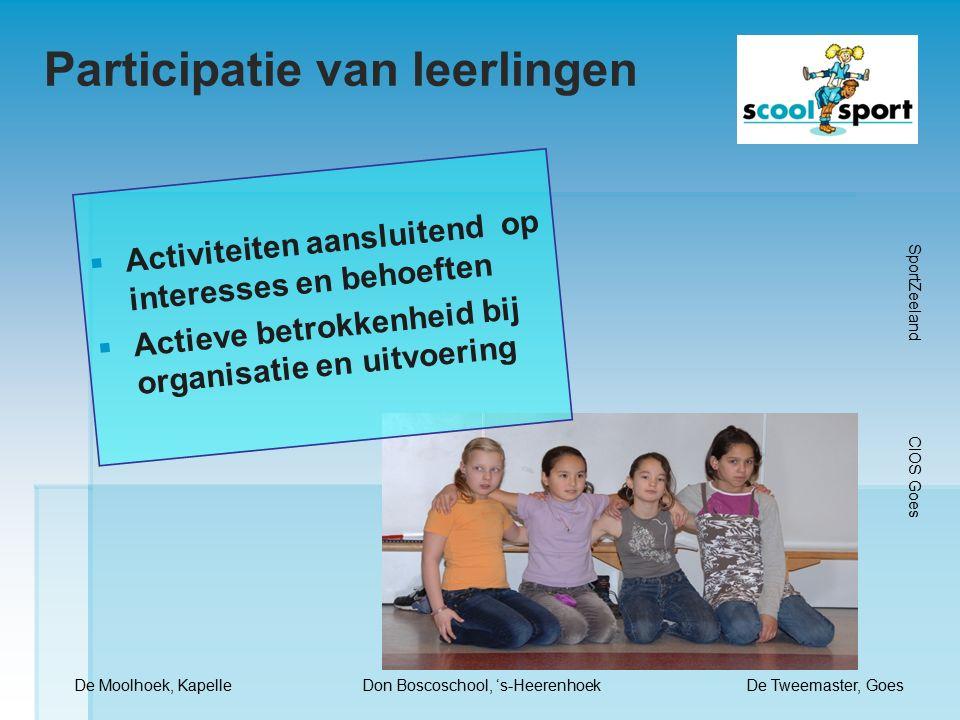 Participatie van leerlingen De Moolhoek, KapelleDon Boscoschool, 's-HeerenhoekDe Tweemaster, Goes SportZeeland CIOS Goes  Activiteiten aansluitend op interesses en behoeften  Actieve betrokkenheid bij organisatie en uitvoering