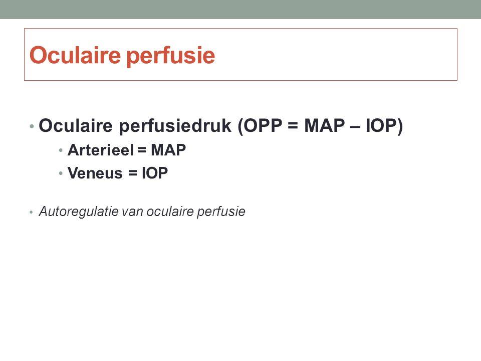Oculaire perfusie Oculaire perfusiedruk (OPP = MAP – IOP) Arterieel = MAP Veneus = IOP Autoregulatie van oculaire perfusie