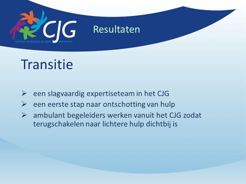 Transitie  een slagvaardig expertiseteam in het CJG  een eerste stap naar ontschotting van hulp  ambulant begeleiders werken vanuit het CJG zodat terugschakelen naar lichtere hulp dichtbij is Resultaten
