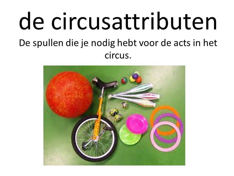 de circusattributen De spullen die je nodig hebt voor de acts in het circus.