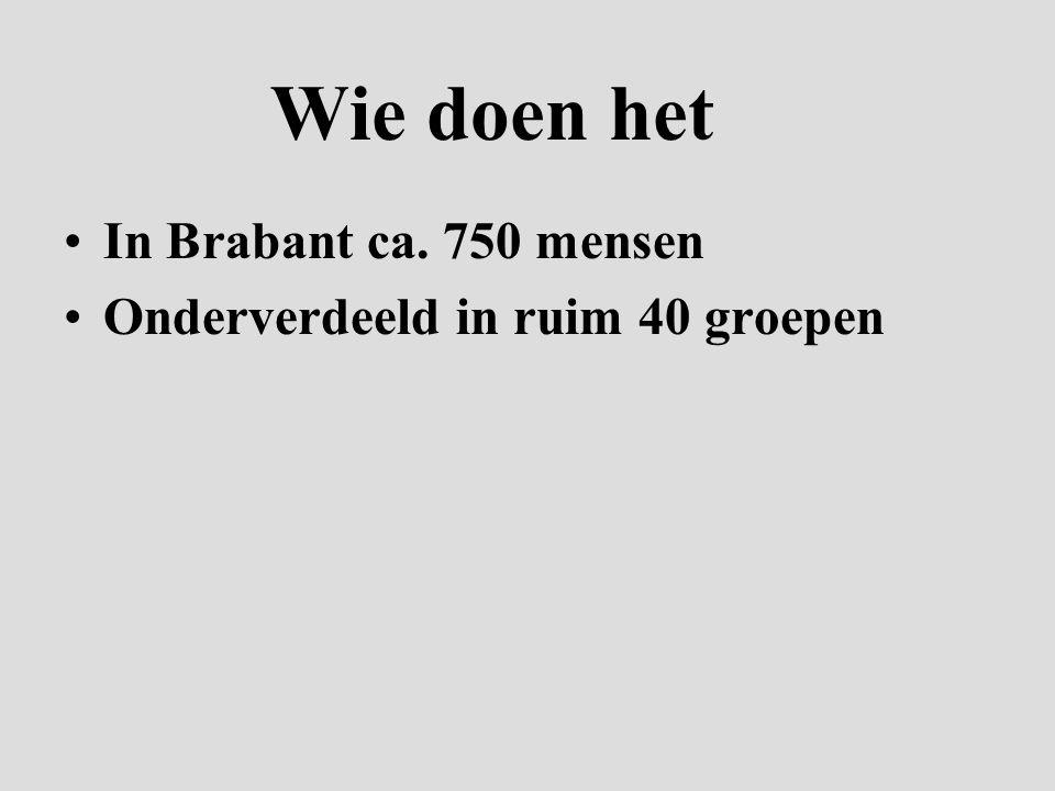 Wie doen het In Brabant ca. 750 mensen Onderverdeeld in ruim 40 groepen