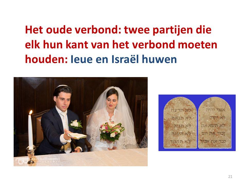 Het oude verbond: twee partijen die elk hun kant van het verbond moeten houden: Ieue en Israël huwen 21