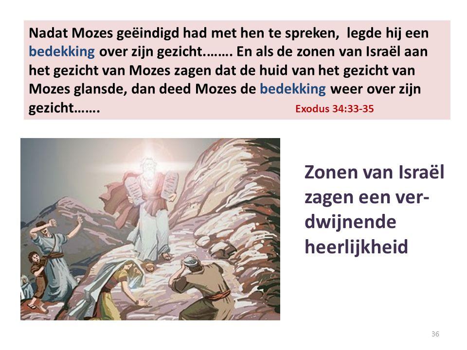 36 Nadat Mozes geëindigd had met hen te spreken, legde hij een bedekking over zijn gezicht.…….