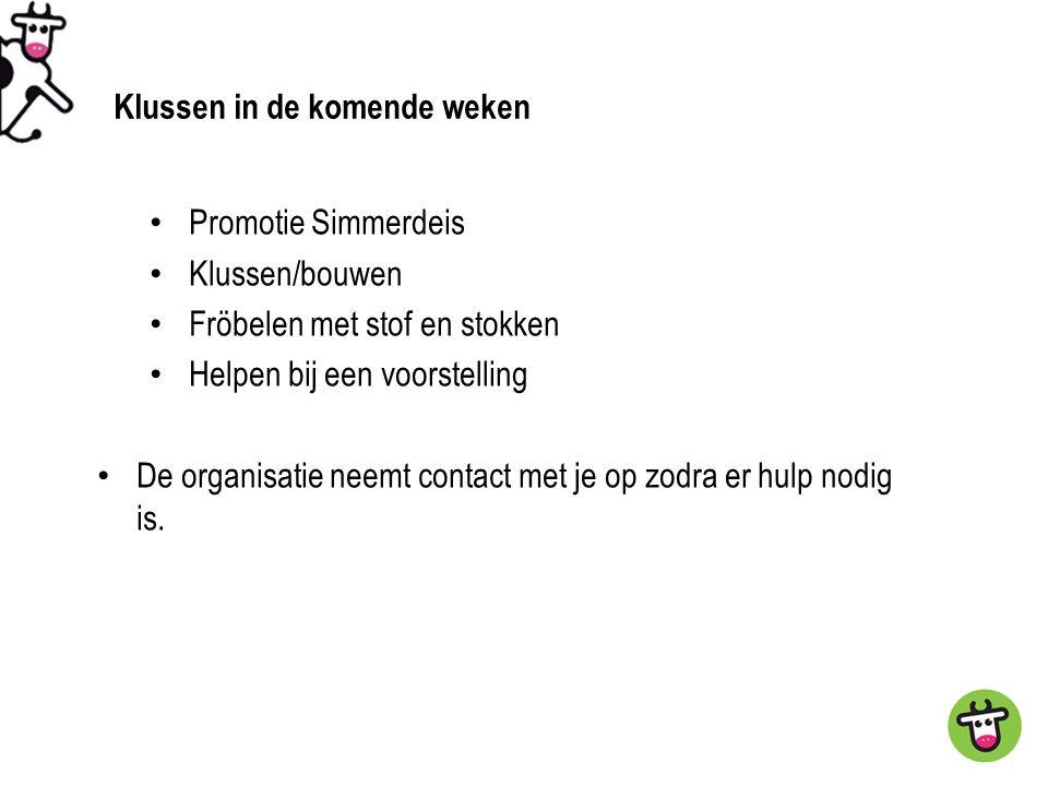 Promotie Simmerdeis Klussen/bouwen Fröbelen met stof en stokken Helpen bij een voorstelling De organisatie neemt contact met je op zodra er hulp nodig is.