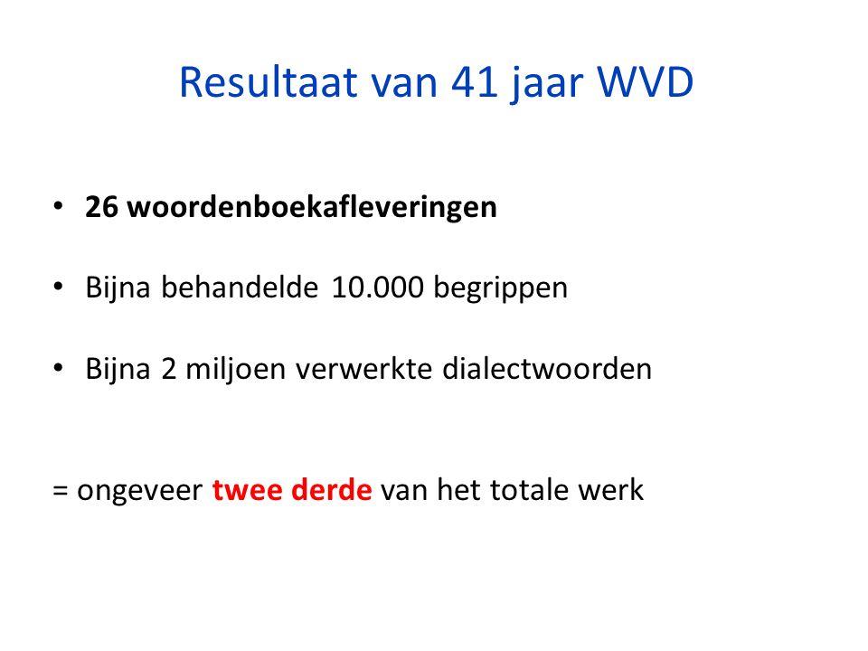 Resultaat van 41 jaar WVD 26 woordenboekafleveringen Bijna behandelde 10.000 begrippen Bijna 2 miljoen verwerkte dialectwoorden = ongeveer twee derde van het totale werk