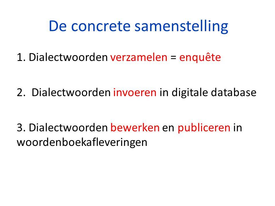 De concrete samenstelling 1. Dialectwoorden verzamelen = enquête 2.