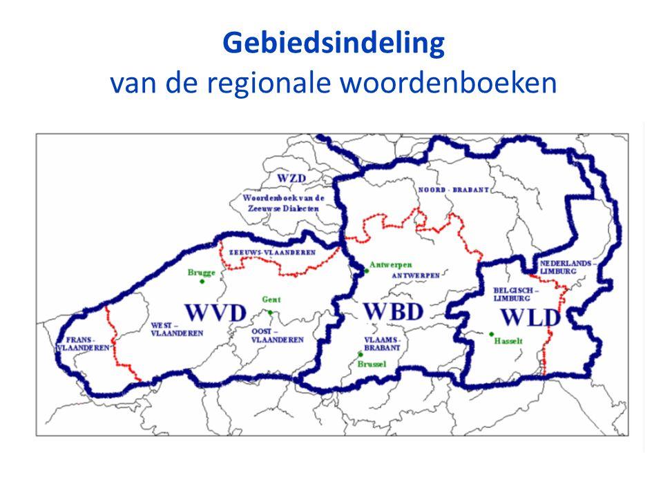 Gebiedsindeling van de regionale woordenboeken