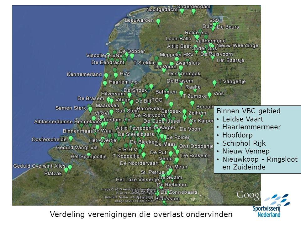 Verdeling verenigingen die overlast ondervinden Binnen VBC gebied Leidse Vaart Haarlemmermeer Hoofdorp Schiphol Rijk Nieuw Vennep Nieuwkoop - Ringsloot en Zuideinde
