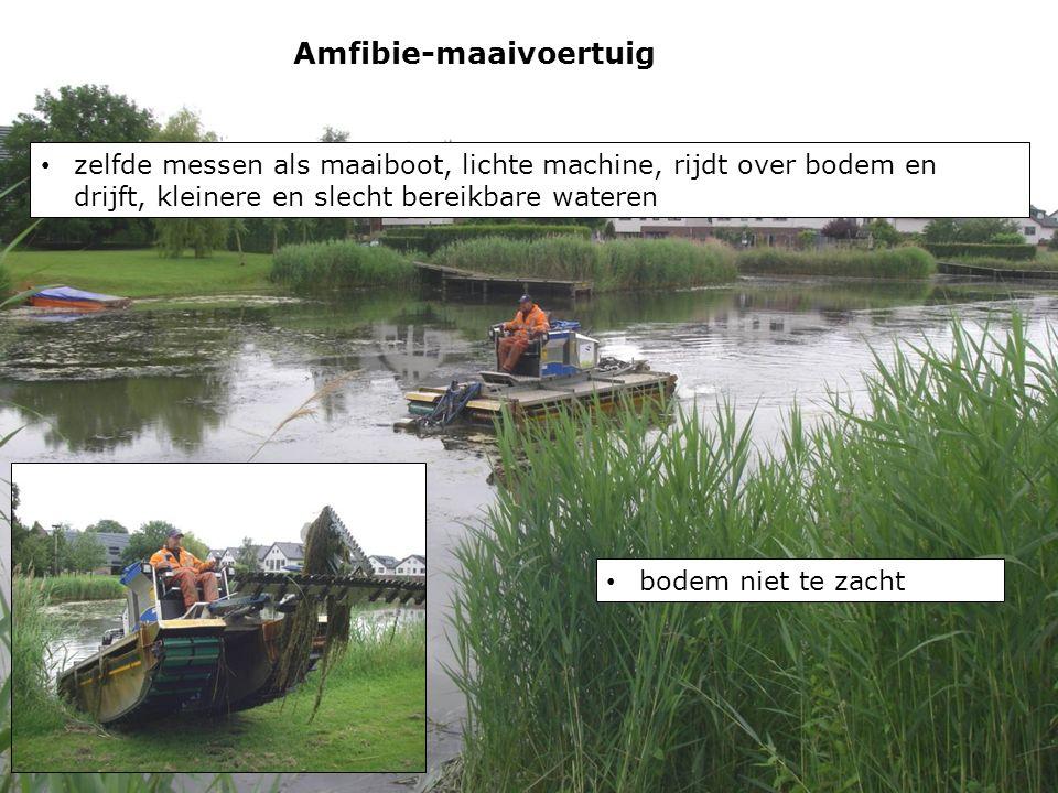 Amfibie-maaivoertuig zelfde messen als maaiboot, lichte machine, rijdt over bodem en drijft, kleinere en slecht bereikbare wateren bodem niet te zacht