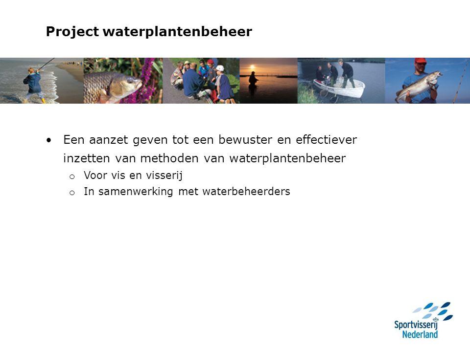 Project waterplantenbeheer Een aanzet geven tot een bewuster en effectiever inzetten van methoden van waterplantenbeheer o Voor vis en visserij o In samenwerking met waterbeheerders