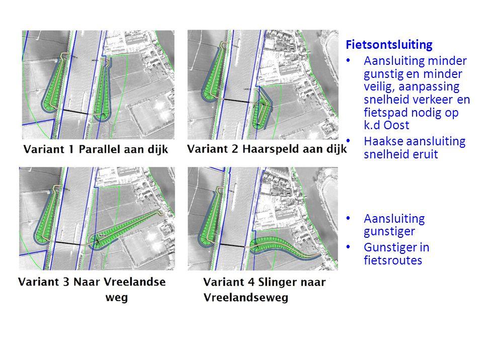 Aansluiting minder gunstig en minder veilig, aanpassing snelheid verkeer en fietspad nodig op k.d Oost Haakse aansluiting snelheid eruit Aansluiting gunstiger Gunstiger in fietsroutes