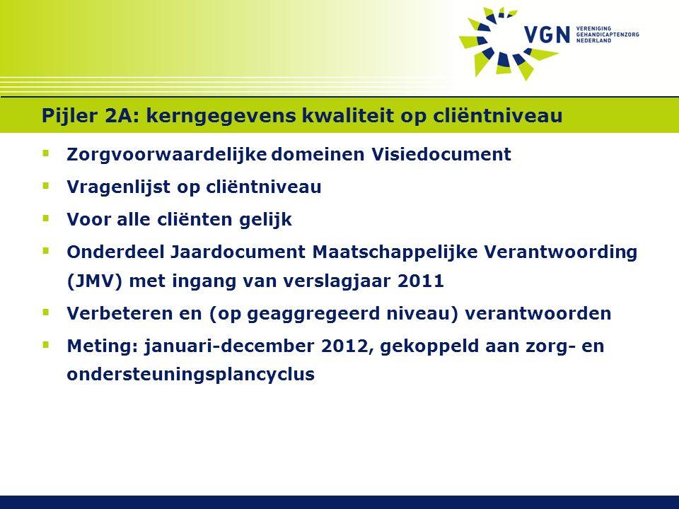 Pijler 2A: kerngegevens kwaliteit op cliëntniveau  Zorgvoorwaardelijke domeinen Visiedocument  Vragenlijst op cliëntniveau  Voor alle cliënten gelijk  Onderdeel Jaardocument Maatschappelijke Verantwoording (JMV) met ingang van verslagjaar 2011  Verbeteren en (op geaggregeerd niveau) verantwoorden  Meting: januari-december 2012, gekoppeld aan zorg- en ondersteuningsplancyclus