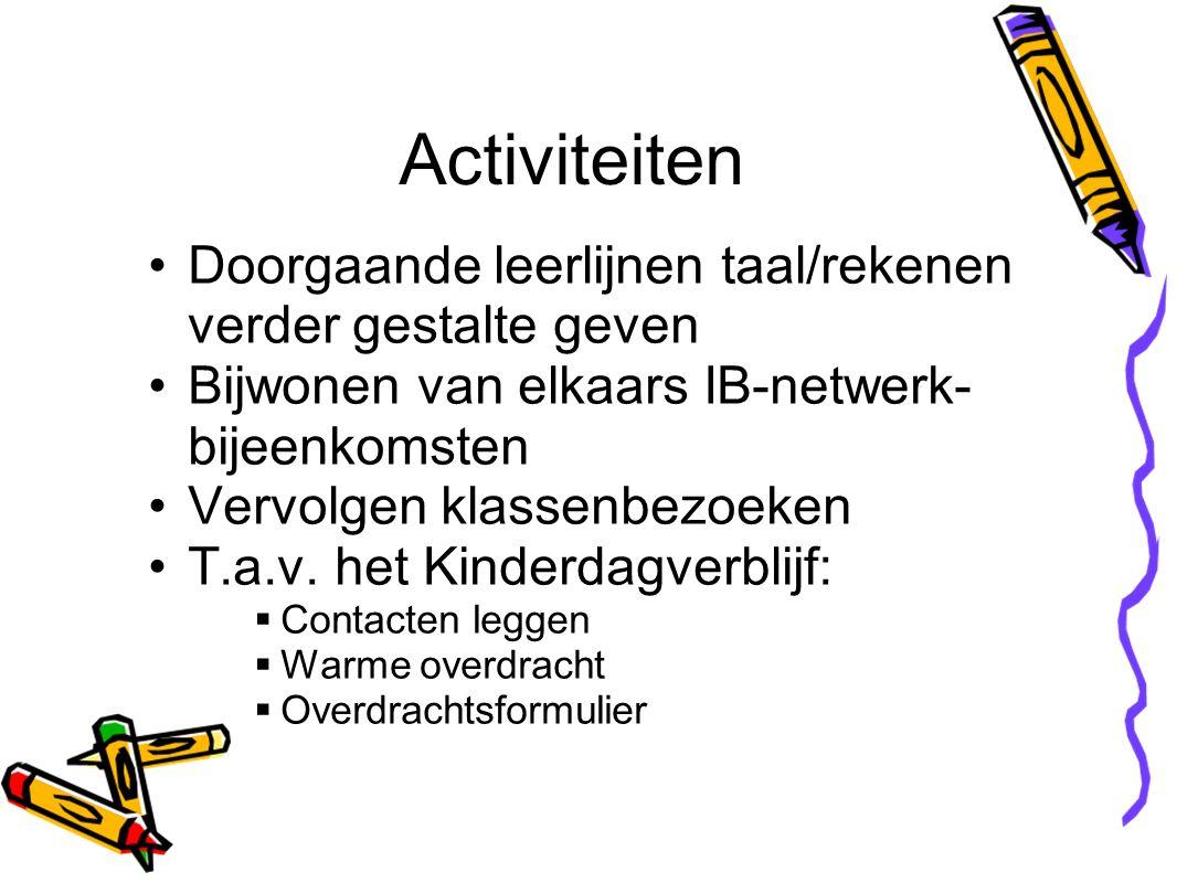 Doorgaande leerlijnen taal/rekenen verder gestalte geven Bijwonen van elkaars IB-netwerk- bijeenkomsten Vervolgen klassenbezoeken T.a.v.