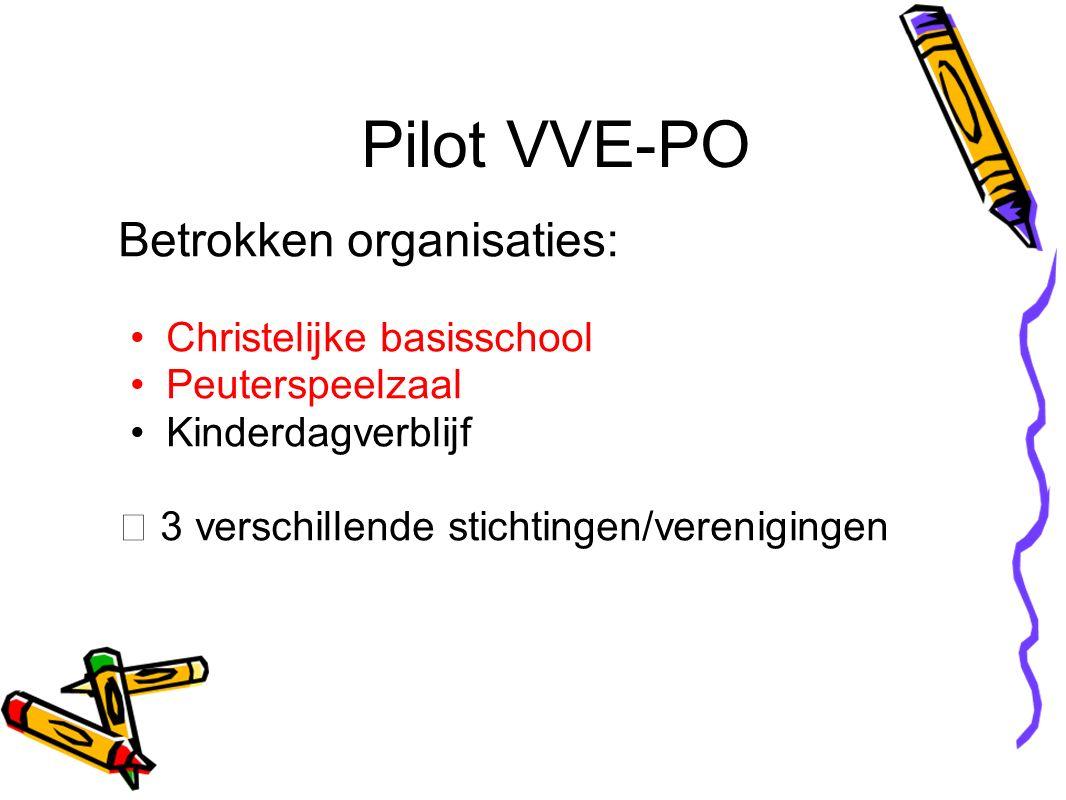 Pilot VVE-PO Betrokken organisaties: Christelijke basisschool Peuterspeelzaal Kinderdagverblijf  3 verschillende stichtingen/verenigingen