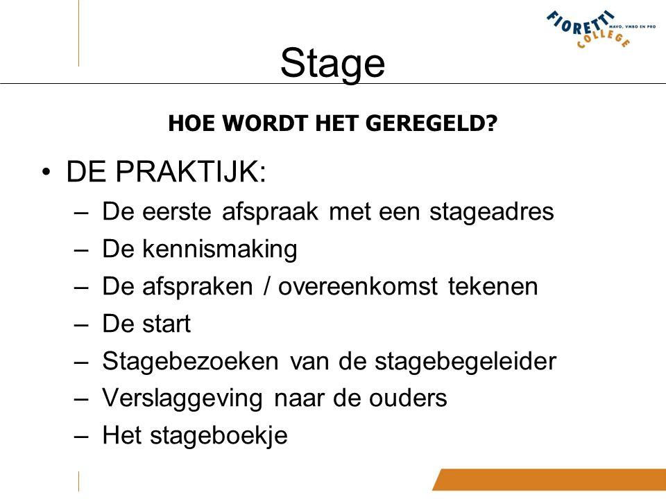 Stage HOE WORDT HET GEREGELD.