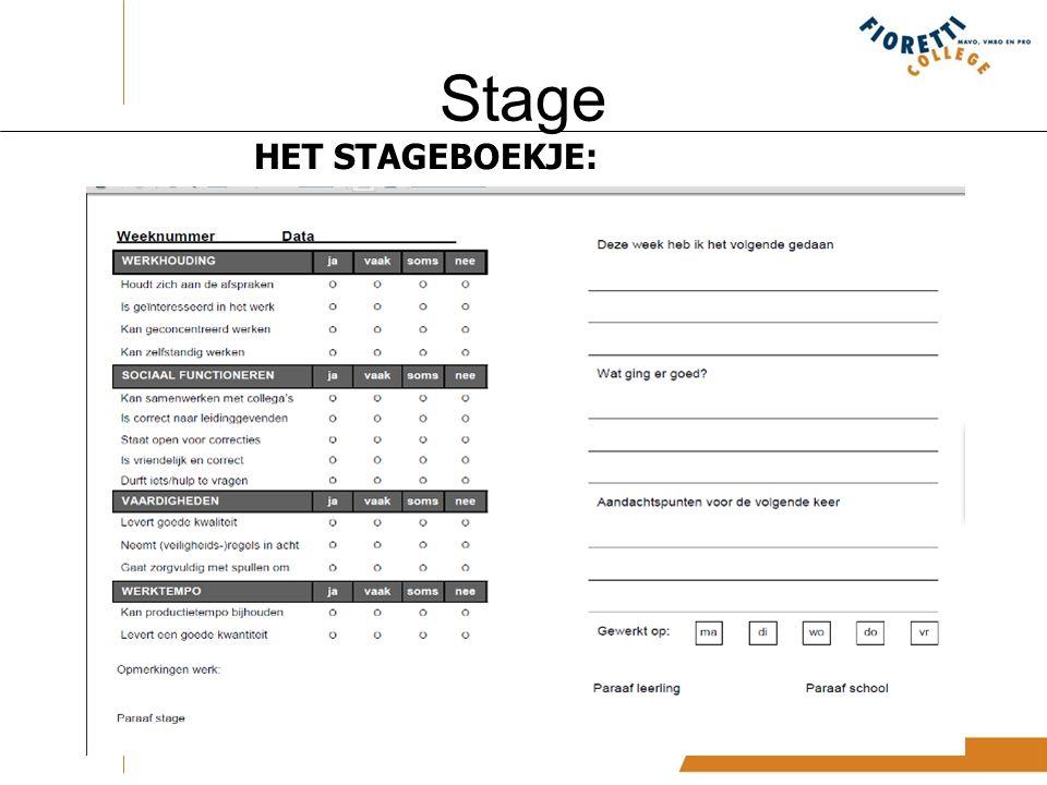 Stage HET STAGEBOEKJE: