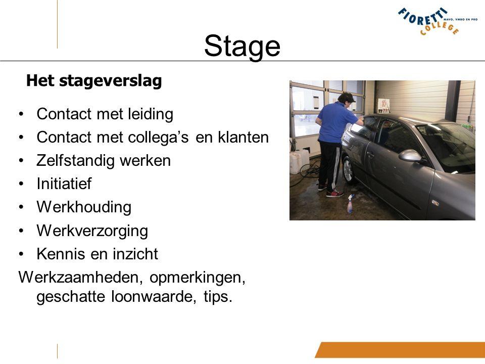Stage Het stageverslag Contact met leiding Contact met collega's en klanten Zelfstandig werken Initiatief Werkhouding Werkverzorging Kennis en inzicht Werkzaamheden, opmerkingen, geschatte loonwaarde, tips.