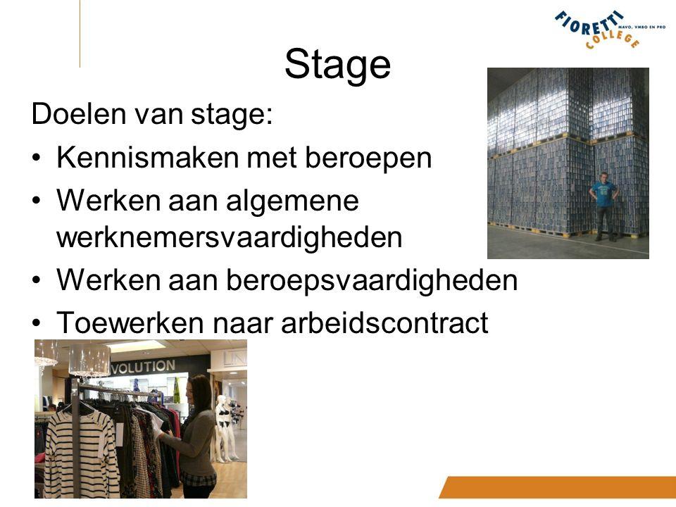 Stage Doelen van stage: Kennismaken met beroepen Werken aan algemene werknemersvaardigheden Werken aan beroepsvaardigheden Toewerken naar arbeidscontract