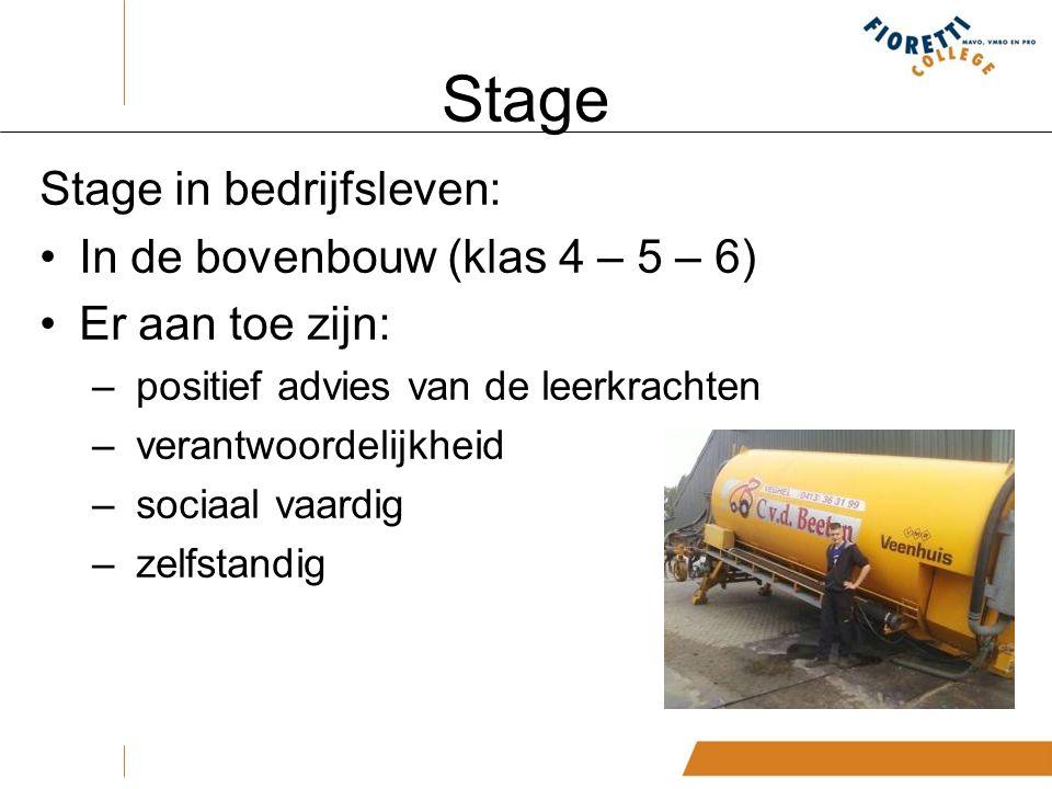 Stage Stage in bedrijfsleven: In de bovenbouw (klas 4 – 5 – 6) Er aan toe zijn: – positief advies van de leerkrachten – verantwoordelijkheid – sociaal vaardig – zelfstandig