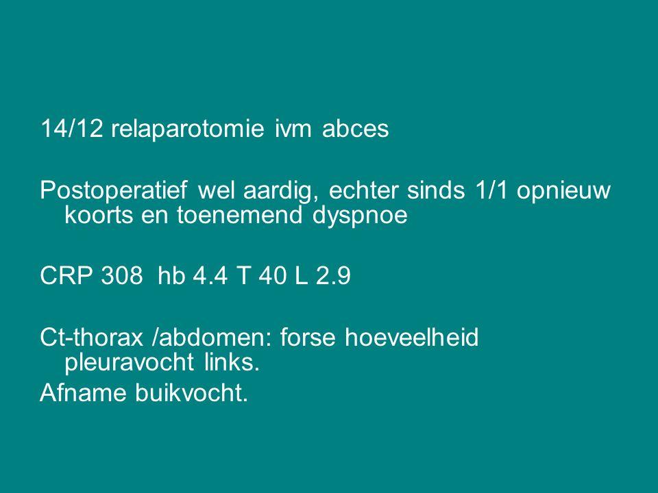 14/12 relaparotomie ivm abces Postoperatief wel aardig, echter sinds 1/1 opnieuw koorts en toenemend dyspnoe CRP 308 hb 4.4 T 40 L 2.9 Ct-thorax /abdomen: forse hoeveelheid pleuravocht links.