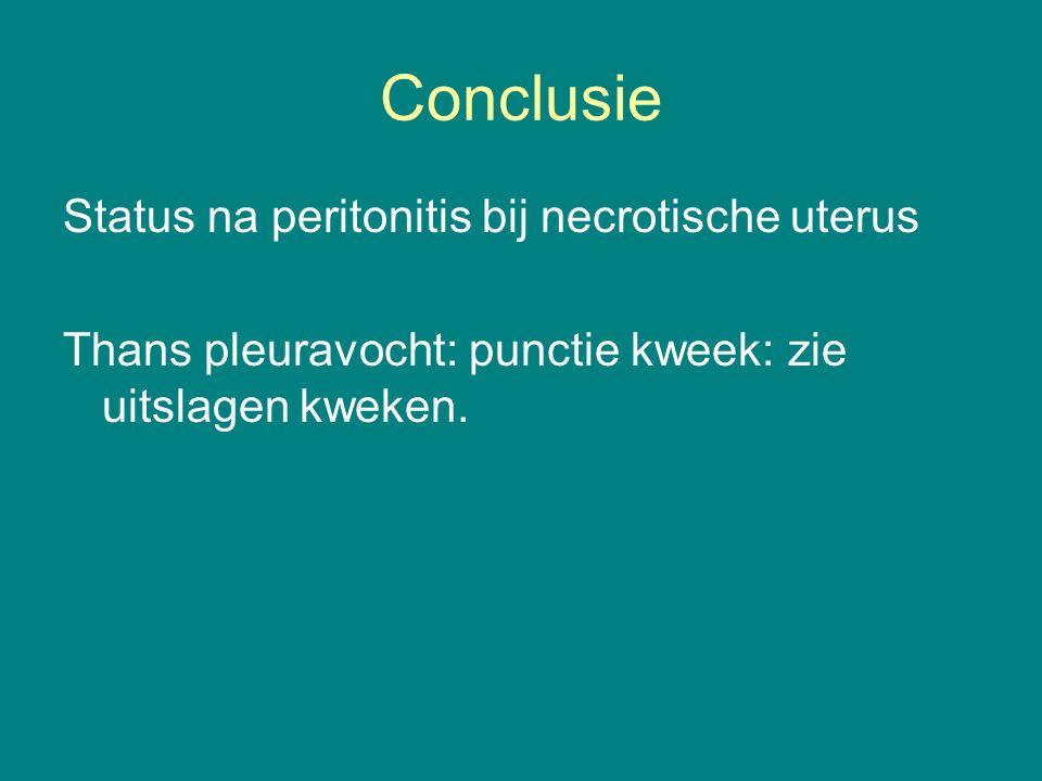 Conclusie Status na peritonitis bij necrotische uterus Thans pleuravocht: punctie kweek: zie uitslagen kweken.