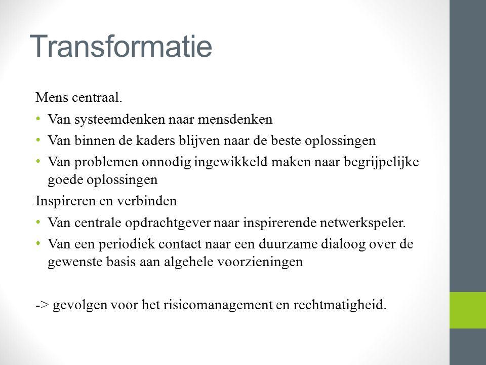 Transformatie Mens centraal. Van systeemdenken naar mensdenken Van binnen de kaders blijven naar de beste oplossingen Van problemen onnodig ingewikkel