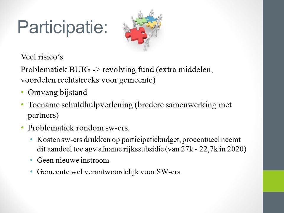 Participatie: Veel risico's Problematiek BUIG -> revolving fund (extra middelen, voordelen rechtstreeks voor gemeente) Omvang bijstand Toename schuldhulpverlening (bredere samenwerking met partners) Problematiek rondom sw-ers.