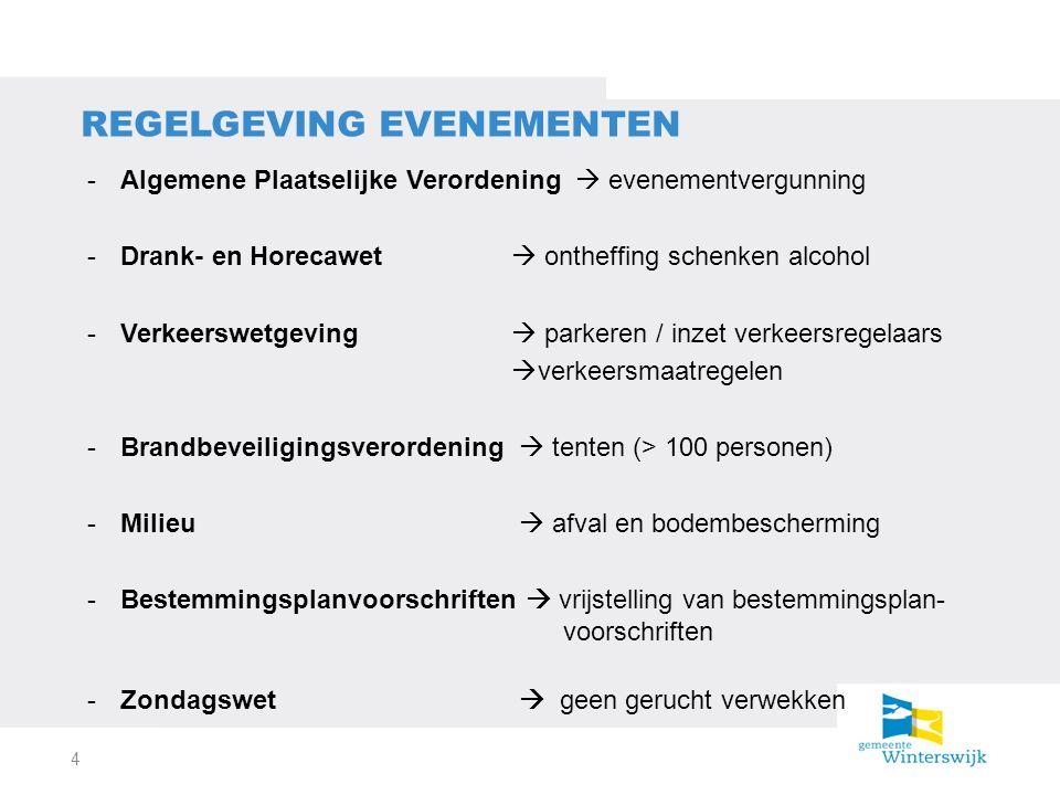 -Algemene Plaatselijke Verordening  evenementvergunning -Drank- en Horecawet  ontheffing schenken alcohol -Verkeerswetgeving  parkeren / inzet verkeersregelaars  verkeersmaatregelen -Brandbeveiligingsverordening  tenten (> 100 personen) -Milieu  afval en bodembescherming -Bestemmingsplanvoorschriften  vrijstelling van bestemmingsplan- voorschriften -Zondagswet  geen gerucht verwekken REGELGEVING EVENEMENTEN 4