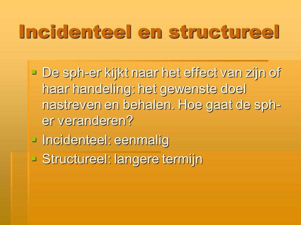 Incidenteel en structureel  De sph-er kijkt naar het effect van zijn of haar handeling: het gewenste doel nastreven en behalen.