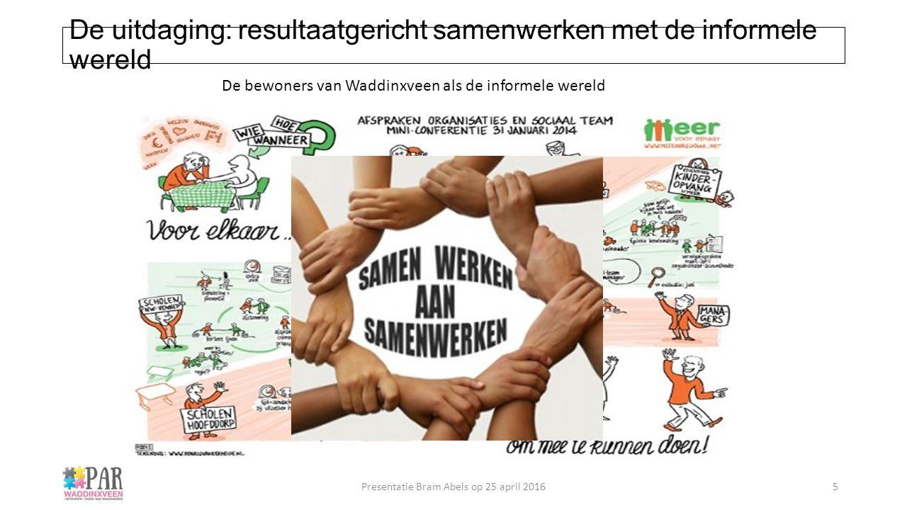 De uitdaging: resultaatgericht samenwerken met de informele wereld De bewoners van Waddinxveen als de informele wereld Presentatie Bram Abels op 25 ap