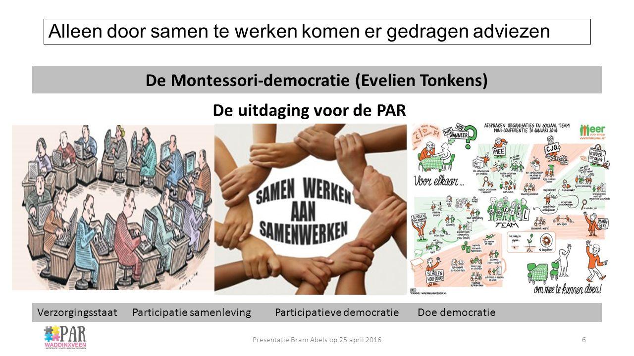 Alleen door samen te werken komen er gedragen adviezen De uitdaging voor de PAR De Montessori-democratie (Evelien Tonkens) Verzorgingsstaat Participat