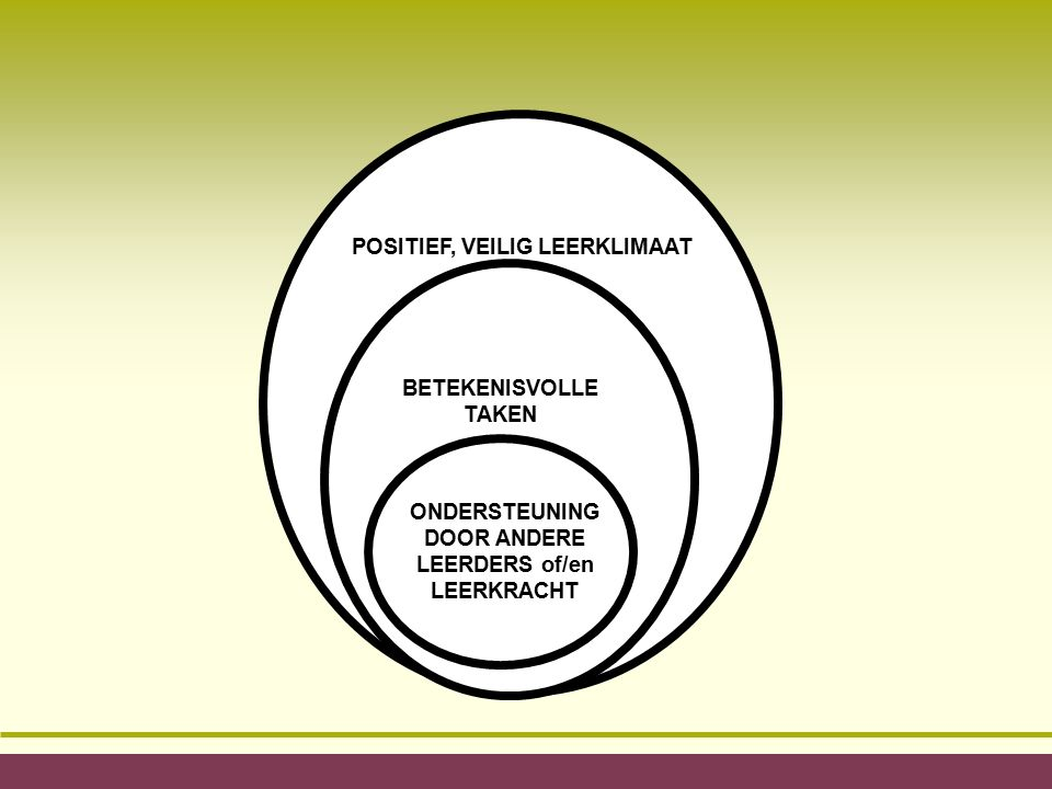 POSITIEF, VEILIG LEERKLIMAAT BETEKENISVOLLE TAKEN ONDERSTEUNING DOOR ANDERE LEERDERS of/en LEERKRACHT
