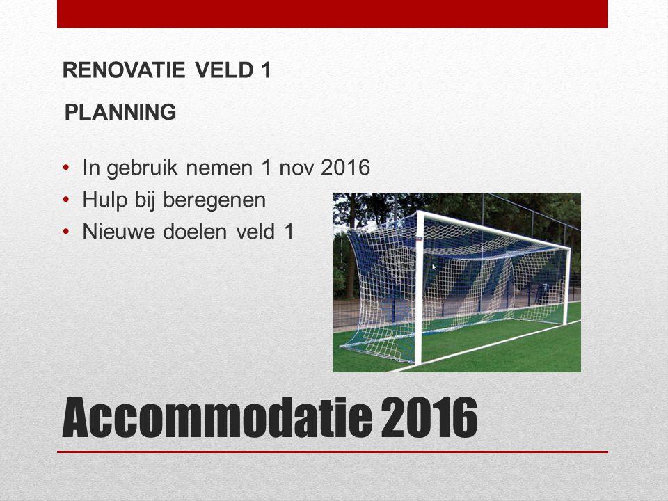Accommodatie 2016 RENOVATIE VELD 1 In gebruik nemen 1 nov 2016 Hulp bij beregenen Nieuwe doelen veld 1 PLANNING