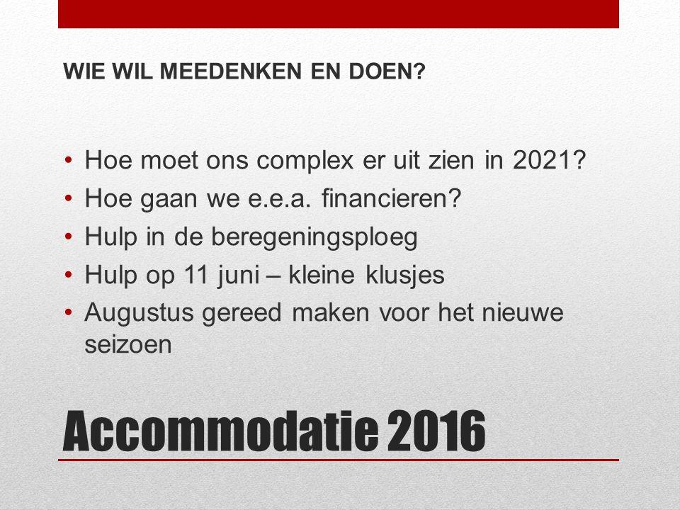 Accommodatie 2016 WIE WIL MEEDENKEN EN DOEN. Hoe moet ons complex er uit zien in 2021.
