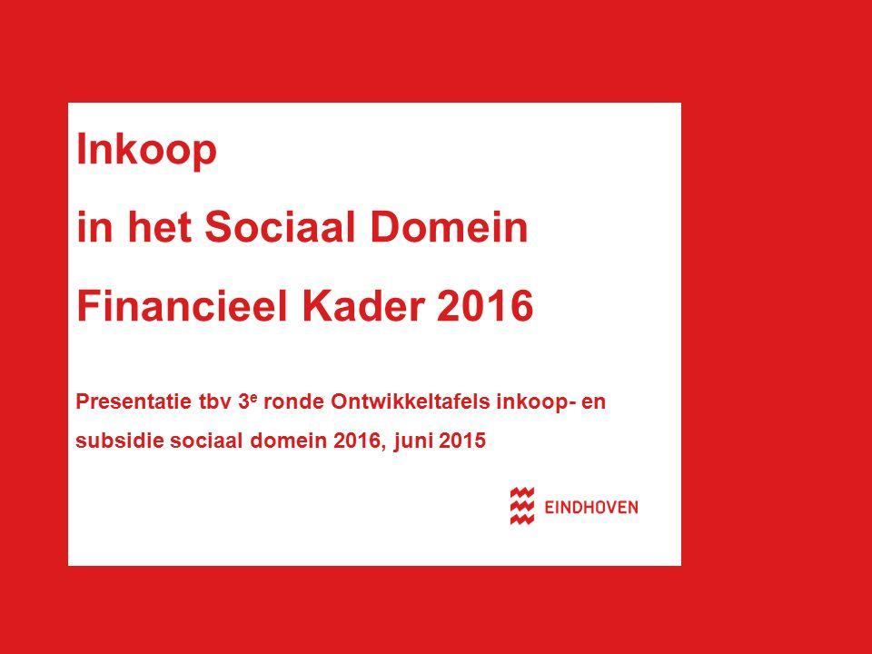 Inkoop in het Sociaal Domein Financieel Kader 2016 Presentatie tbv 3 e ronde Ontwikkeltafels inkoop- en subsidie sociaal domein 2016, juni 2015