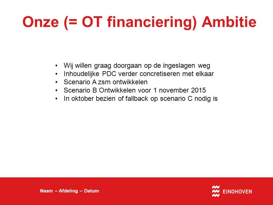 Onze (= OT financiering) Ambitie Naam – Afdeling – Datum Wij willen graag doorgaan op de ingeslagen weg Inhoudelijke PDC verder concretiseren met elka