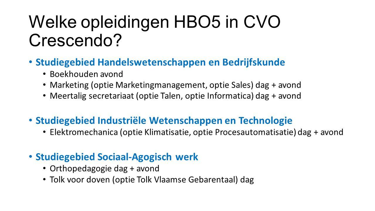 Welke opleidingen HBO5 in CVO Crescendo.