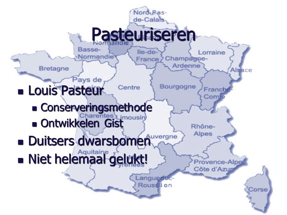 Pasteuriseren Louis Pasteur Louis Pasteur Conserveringsmethode Conserveringsmethode Ontwikkelen Gist Ontwikkelen Gist Duitsers dwarsbomen Duitsers dwarsbomen Niet helemaal gelukt.