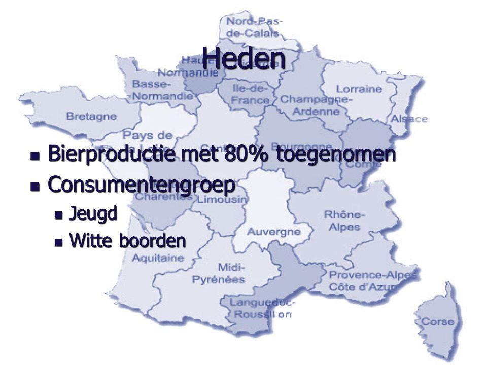 Heden Bierproductie met 80% toegenomen Bierproductie met 80% toegenomen Consumentengroep Consumentengroep Jeugd Jeugd Witte boorden Witte boorden
