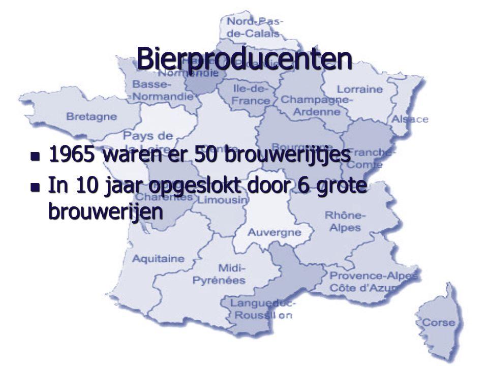 Bierproducenten 1965 waren er 50 brouwerijtjes 1965 waren er 50 brouwerijtjes In 10 jaar opgeslokt door 6 grote brouwerijen In 10 jaar opgeslokt door 6 grote brouwerijen