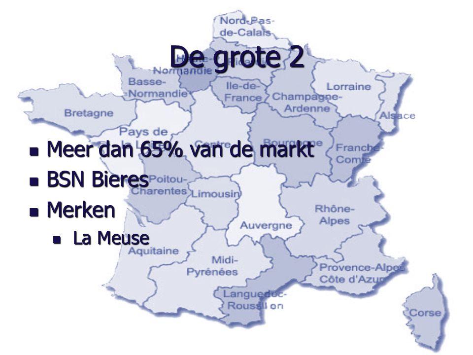 De grote 2 Meer dan 65% van de markt Meer dan 65% van de markt BSN Bieres BSN Bieres Merken Merken La Meuse La Meuse