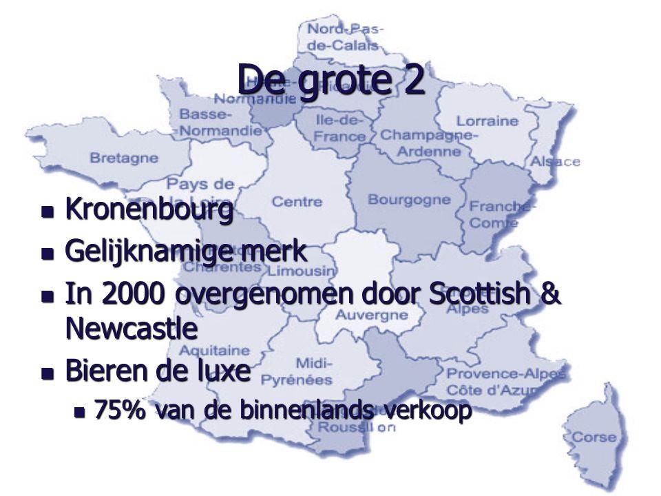 De grote 2 Kronenbourg Kronenbourg Gelijknamige merk Gelijknamige merk In 2000 overgenomen door Scottish & Newcastle In 2000 overgenomen door Scottish