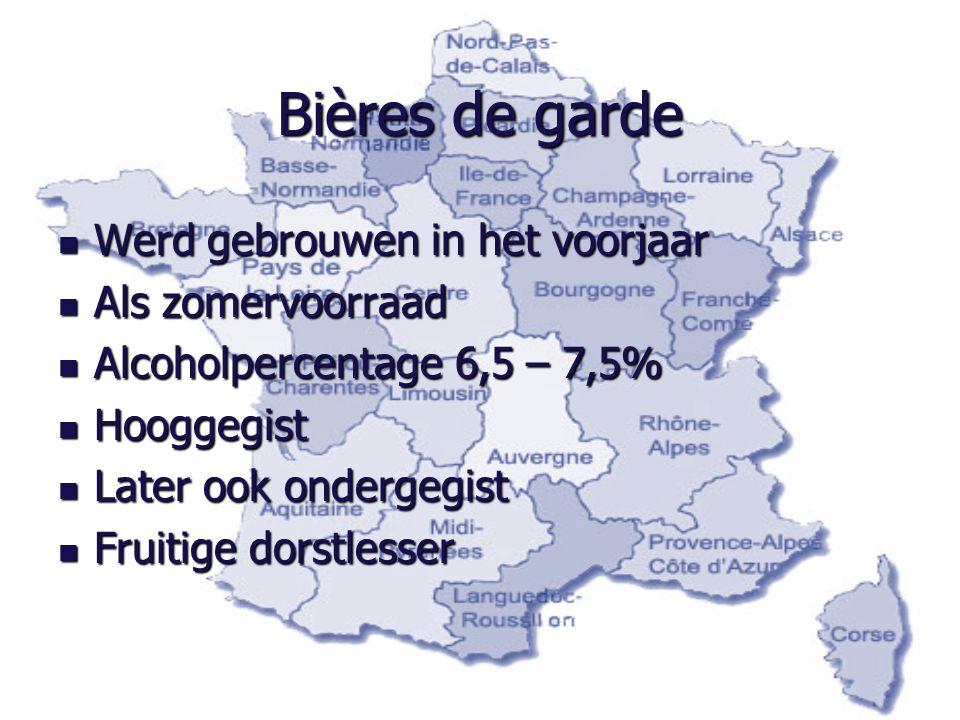 Bières de garde Werd gebrouwen in het voorjaar Werd gebrouwen in het voorjaar Als zomervoorraad Als zomervoorraad Alcoholpercentage 6,5 – 7,5% Alcohol