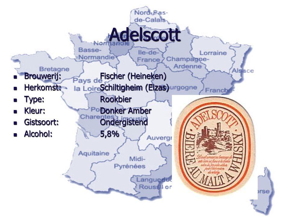 Adelscott Brouwerij: Fischer (Heineken) Brouwerij: Fischer (Heineken) Herkomst:Schiltigheim (Elzas) Herkomst:Schiltigheim (Elzas) Type:Rookbier Type:R