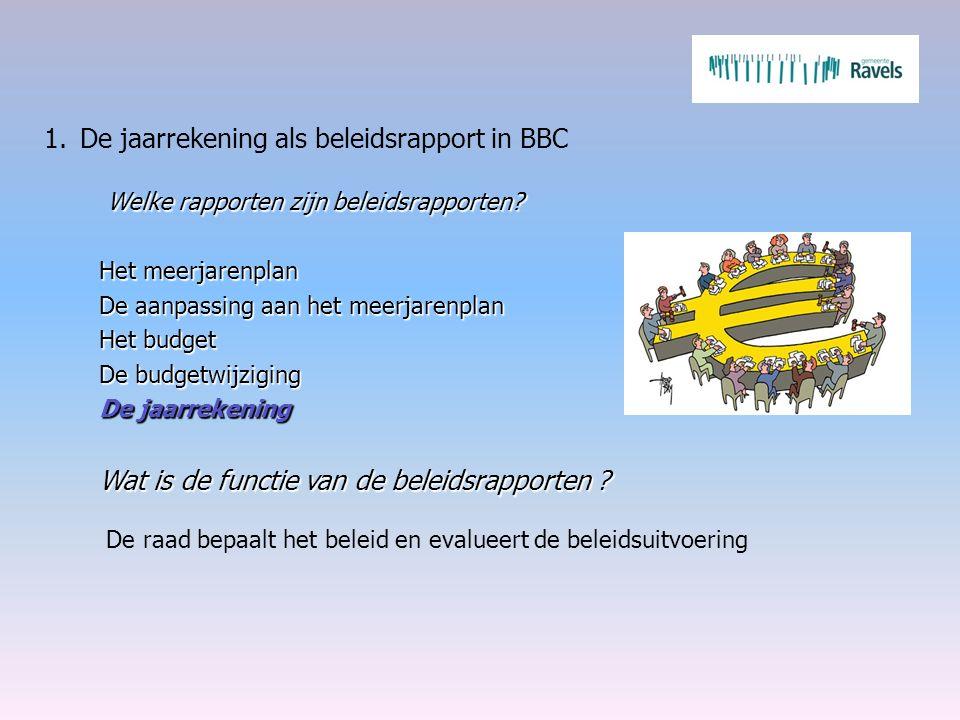 1.De jaarrekening als beleidsrapport in BBC Welke rapporten zijn beleidsrapporten? Het meerjarenplan De aanpassing aan het meerjarenplan Het budget De