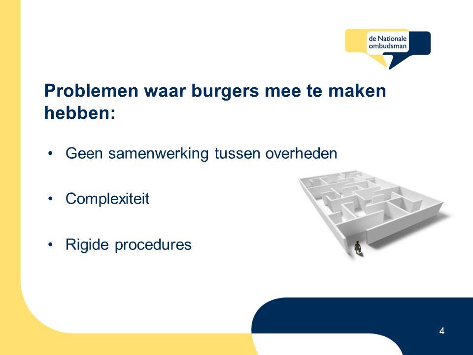 Problemen waar burgers mee te maken hebben: Geen samenwerking tussen overheden Complexiteit Rigide procedures 4