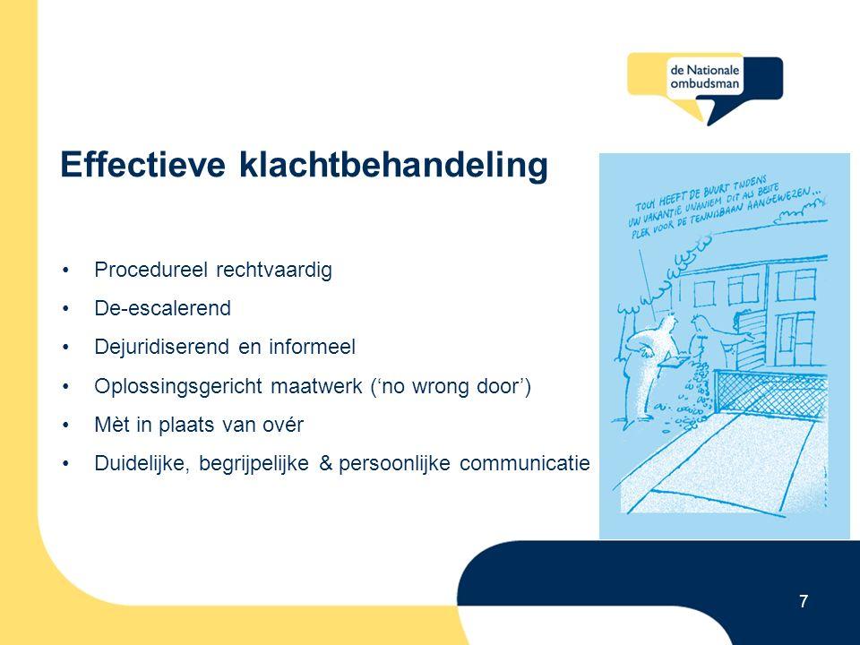 Effectieve klachtbehandeling 7 Procedureel rechtvaardig De-escalerend Dejuridiserend en informeel Oplossingsgericht maatwerk ('no wrong door') Mèt in plaats van ovér Duidelijke, begrijpelijke & persoonlijke communicatie
