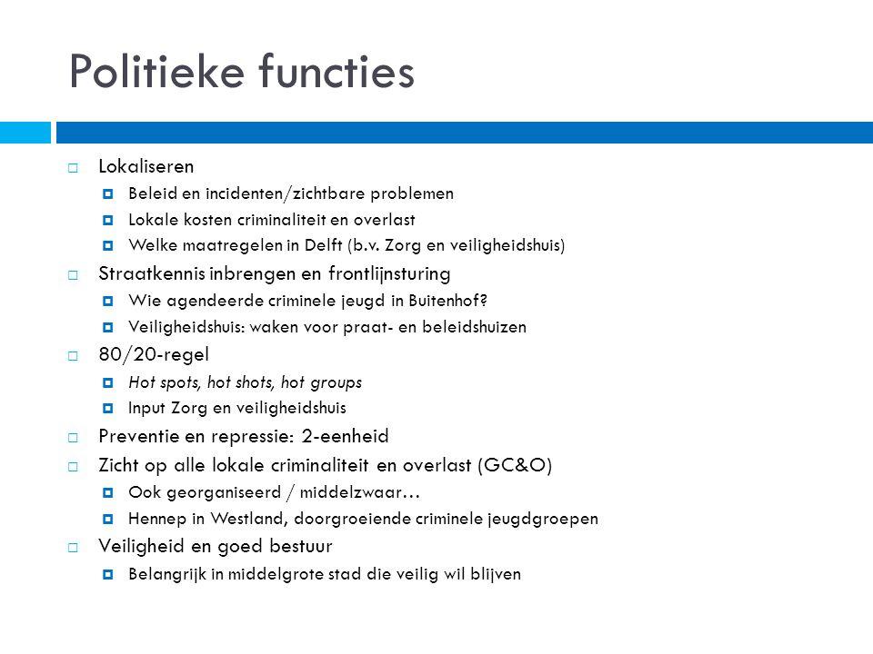 Politieke functies  Lokaliseren  Beleid en incidenten/zichtbare problemen  Lokale kosten criminaliteit en overlast  Welke maatregelen in Delft (b.