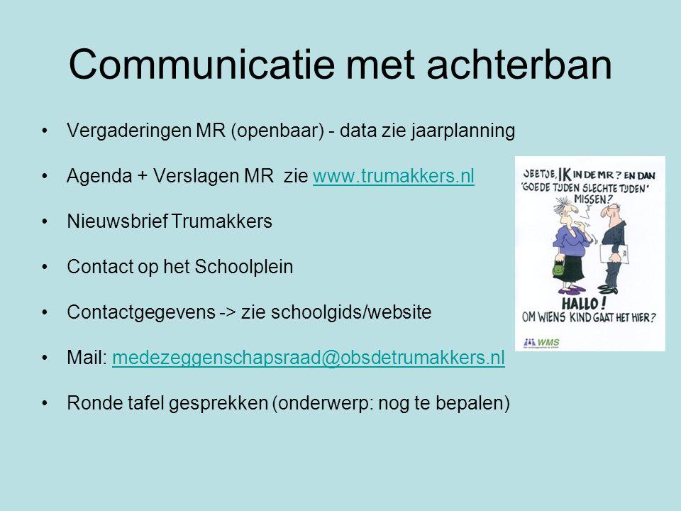 Communicatie met achterban Vergaderingen MR (openbaar) - data zie jaarplanning Agenda + Verslagen MR zie www.trumakkers.nlwww.trumakkers.nl Nieuwsbrie