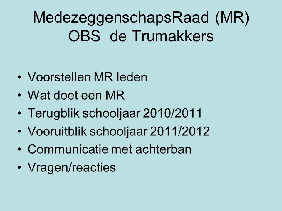 MedezeggenschapsRaad (MR) OBS de Trumakkers Voorstellen MR leden Wat doet een MR Terugblik schooljaar 2010/2011 Vooruitblik schooljaar 2011/2012 Commu